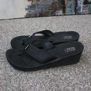 Teva Black Wedge Sandals